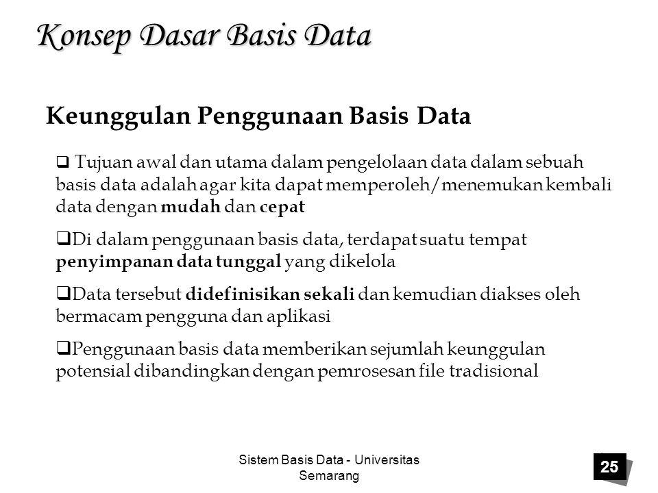 Sistem Basis Data - Universitas Semarang 25 Konsep Dasar Basis Data Keunggulan Penggunaan Basis Data  Tujuan awal dan utama dalam pengelolaan data da