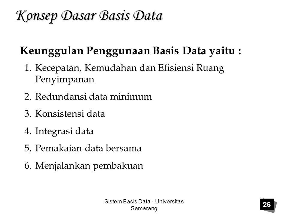 Sistem Basis Data - Universitas Semarang 26 Konsep Dasar Basis Data Keunggulan Penggunaan Basis Data yaitu : 1.Kecepatan, Kemudahan dan Efisiensi Ruan