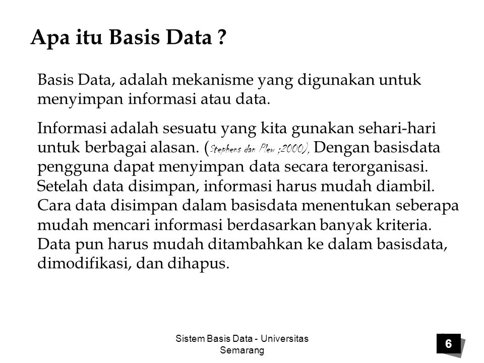 Sistem Basis Data - Universitas Semarang Apa itu Basis Data .