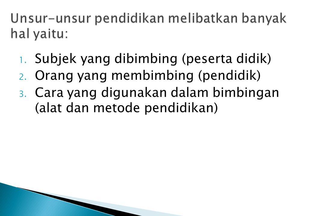 1. Subjek yang dibimbing (peserta didik) 2. Orang yang membimbing (pendidik) 3. Cara yang digunakan dalam bimbingan (alat dan metode pendidikan)