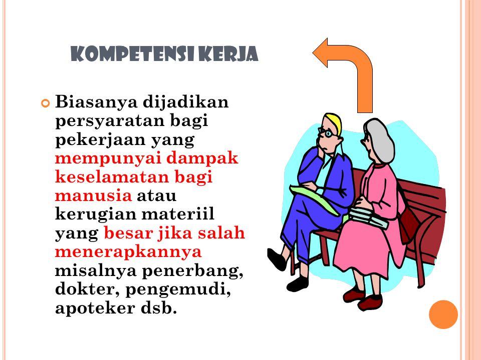 KOMPETENSI KERJA Surat/tanda kompetensi kerja merupakan pernyataan yang dikeluarkan oleh Pemerintah atau badan-badan tertentu, bahwa pemilik surat/tan