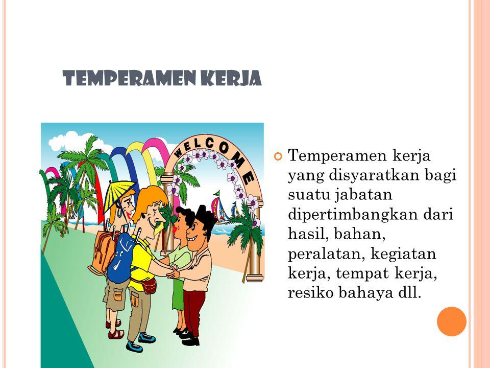 TEMPERAMEN KERJA Dalam Anjab, temperamen kerja diartikan sebagai syarat kemampuan penyesuaian diri yang harus dipenuhi pekerja untuk bekerja sesuai de