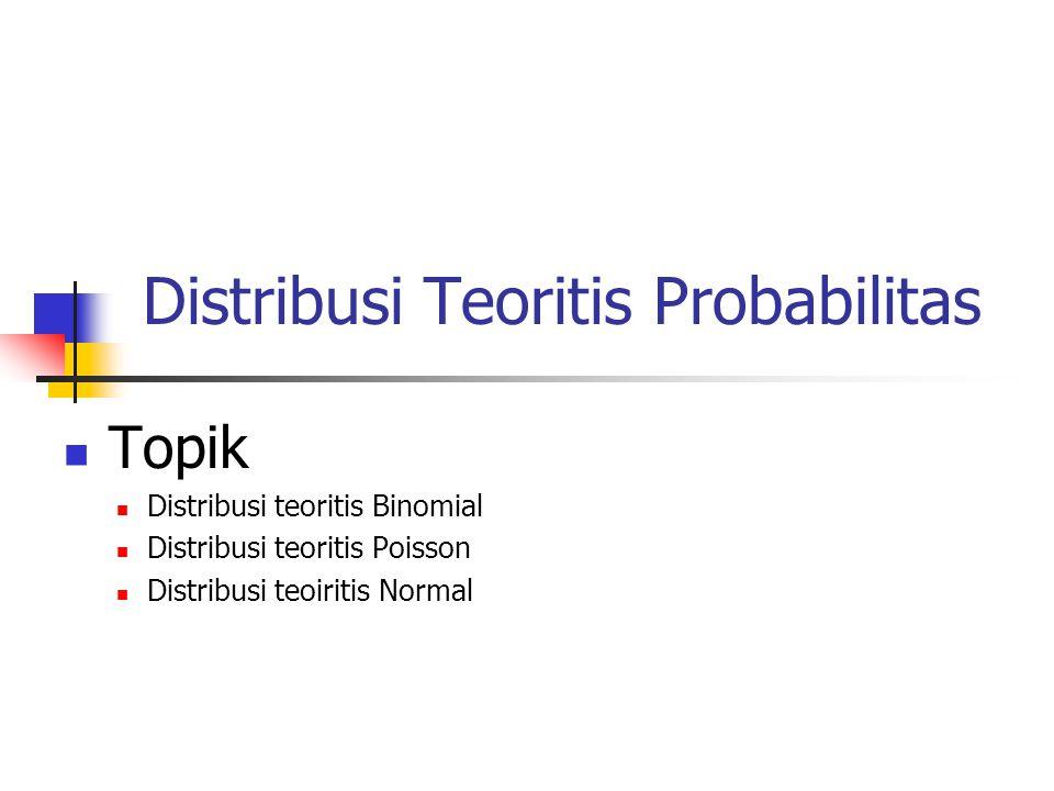 Distribusi Teoritis Probabilitas Topik Distribusi teoritis Binomial Distribusi teoritis Poisson Distribusi teoiritis Normal