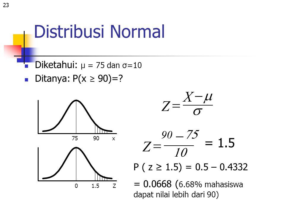 23 Distribusi Normal Diketahui: μ = 75 dan σ=10 Ditanya: P(x ≥ 90)=? 7590x 0Z Z     X Z     = 1.5 1.5 P ( z ≥ 1.5) = 0.5 – 0.4332 = 0.0668 (