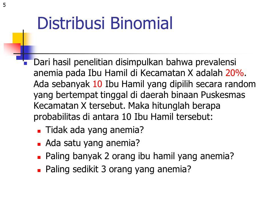 6 Distribusi Binomial Diketahui: p=0.2, q=1-p=1-0.2=0.8 dan n=10 Ditanya: r = 0, r = 1, r ≤ 2, dan r ≥ 3 Jawab P(n=10,r=0) = [10!/(10-0).