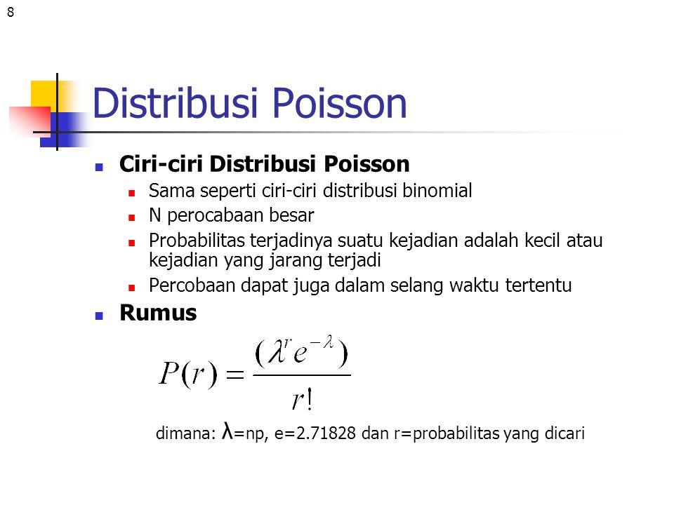8 Distribusi Poisson Ciri-ciri Distribusi Poisson Sama seperti ciri-ciri distribusi binomial N perocabaan besar Probabilitas terjadinya suatu kejadian