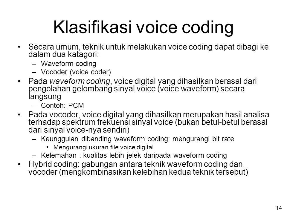 13 Binary Coding (Menentukan bit-bit biner yang merepresentasikan sinyal voice) Contoh untuk kurva A-law Setengah dari jumlah level diperuntukkan bagi sinyal yang levelnya lebih rendah dari 6,25% level sinyal maksimum segmen
