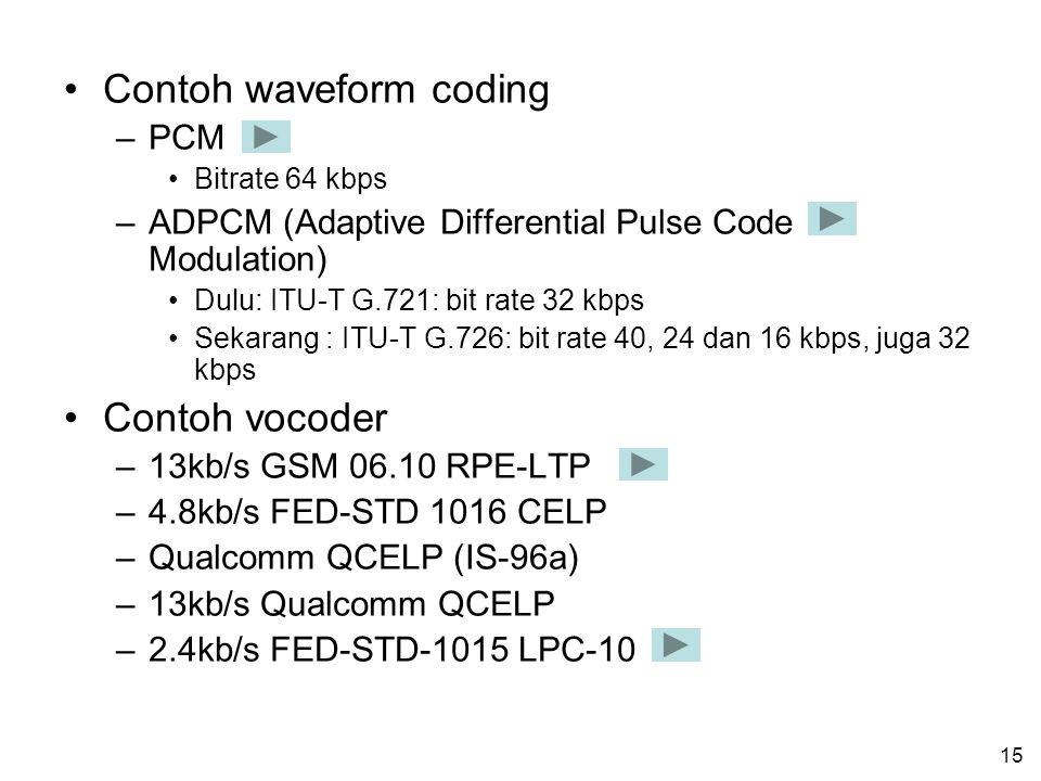 14 Klasifikasi voice coding Secara umum, teknik untuk melakukan voice coding dapat dibagi ke dalam dua katagori: –Waveform coding –Vocoder (voice code