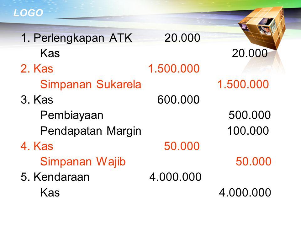 LOGO 1.Perlengkapan ATK 20.000 Kas 20.000 2. Kas 1.500.000 Simpanan Sukarela 1.500.000 3.