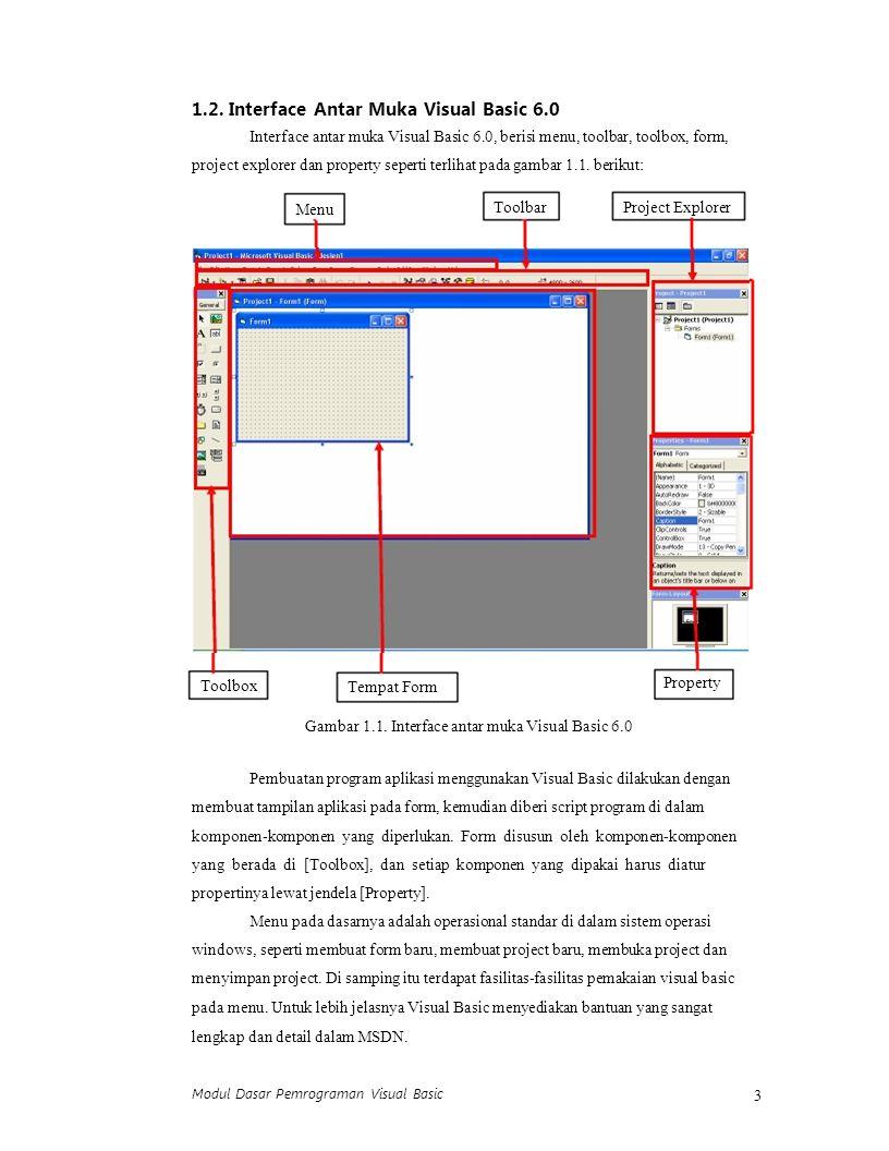 Modul Dasar Pemrograman Visual Basic 3 1.2. Interface Antar Muka Visual Basic 6.0 Interface antar muka Visual Basic 6.0, berisi menu, toolbar, toolbox