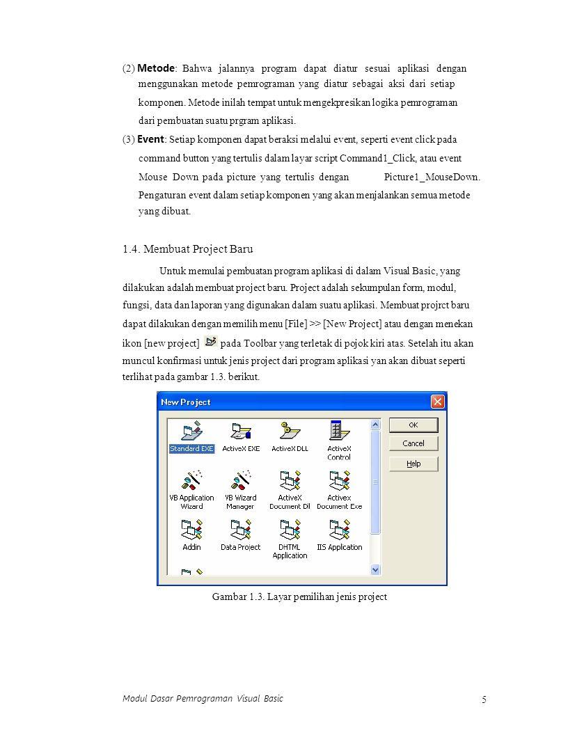 Modul Dasar Pemrograman Visual Basic 6 Visual Basic 6.0 menyediakan 13 jenis project yang bisa dibuat seperti terlihat pada gambar 1.3 di atas.