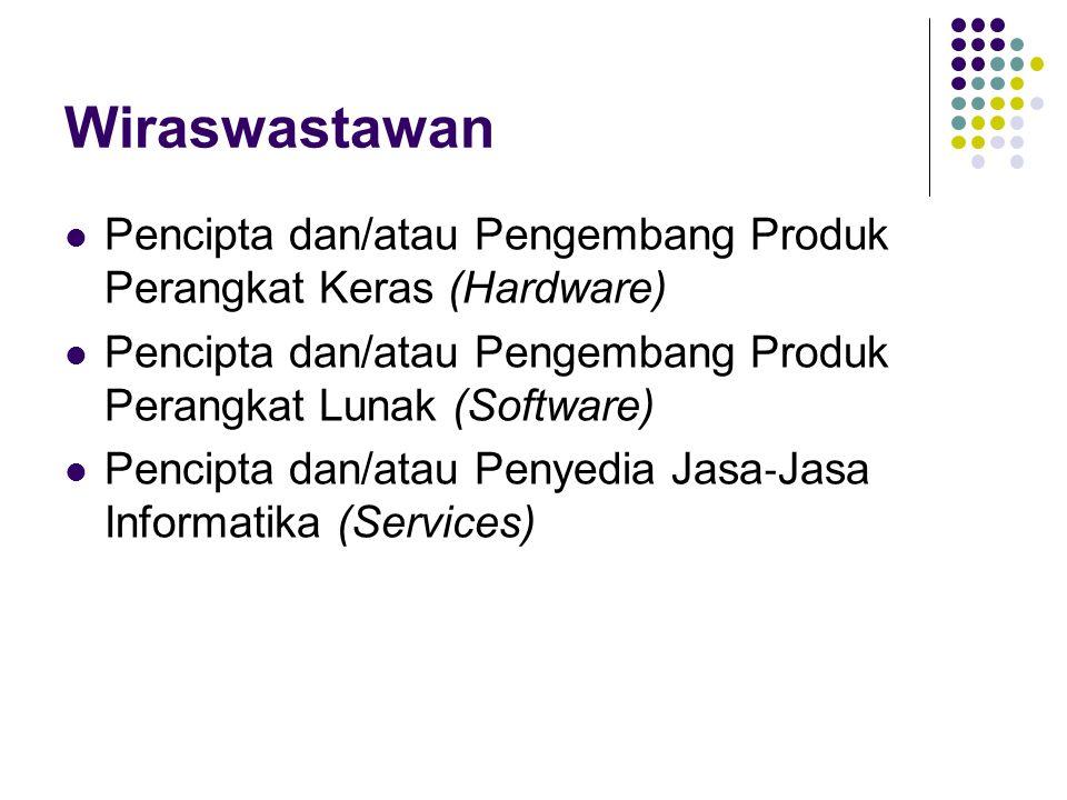 Wiraswastawan Pencipta dan/atau Pengembang Produk Perangkat Keras (Hardware) Pencipta dan/atau Pengembang Produk Perangkat Lunak (Software) Pencipta d