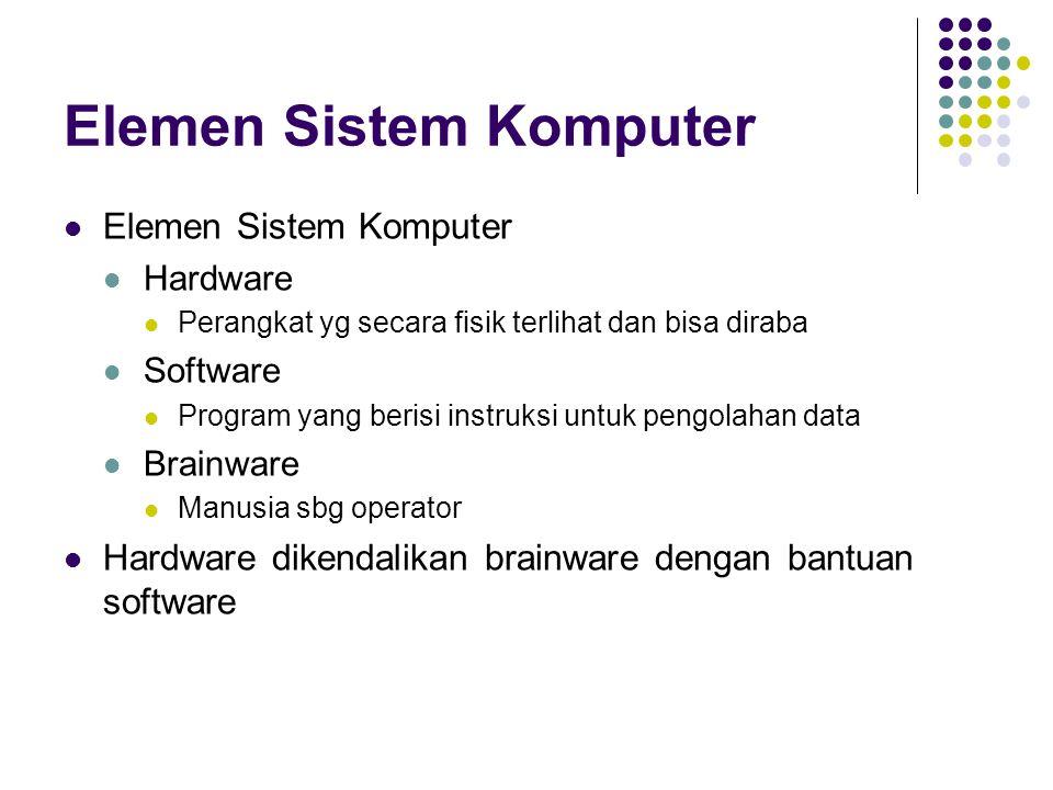 Elemen Sistem Komputer Hardware Perangkat yg secara fisik terlihat dan bisa diraba Software Program yang berisi instruksi untuk pengolahan data Brainw