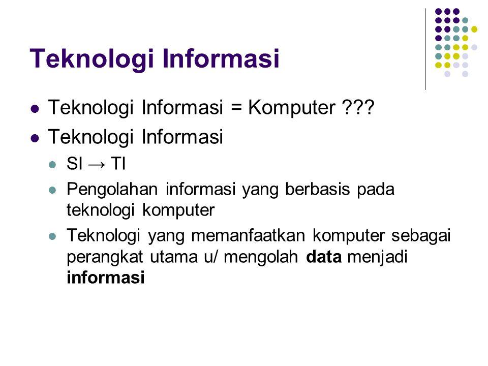 Teknologi Informasi Teknologi Informasi = Komputer ??? Teknologi Informasi SI → TI Pengolahan informasi yang berbasis pada teknologi komputer Teknolog