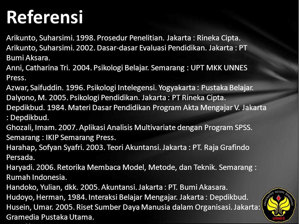Referensi Arikunto, Suharsimi. 1998. Prosedur Penelitian. Jakarta : Rineka Cipta. Arikunto, Suharsimi. 2002. Dasar-dasar Evaluasi Pendidikan. Jakarta