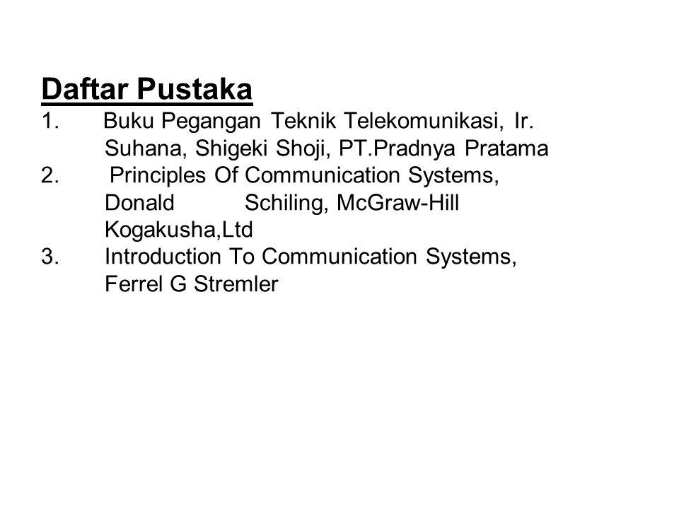 Daftar Pustaka 1. Buku Pegangan Teknik Telekomunikasi, Ir. Suhana, Shigeki Shoji, PT.Pradnya Pratama 2. Principles Of Communication Systems, Donald Sc