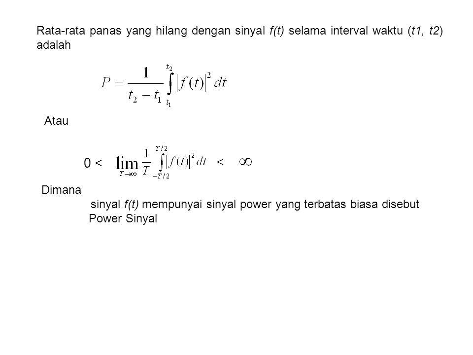Rata-rata panas yang hilang dengan sinyal f(t) selama interval waktu (t1, t2) adalah 0 < < Atau Dimana sinyal f(t) mempunyai sinyal power yang terbatas biasa disebut Power Sinyal