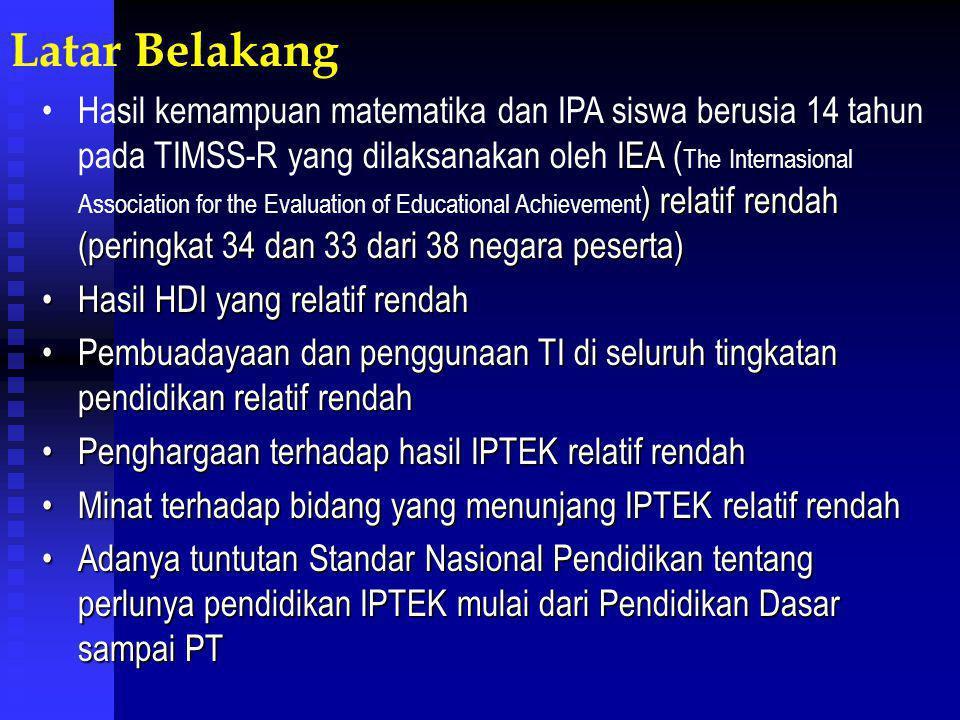 Latar Belakang IEA ) relatif rendah (peringkat 34 dan 33 dari 38 negara peserta)Hasil kemampuan matematika dan IPA siswa berusia 14 tahun pada TIMSS-R