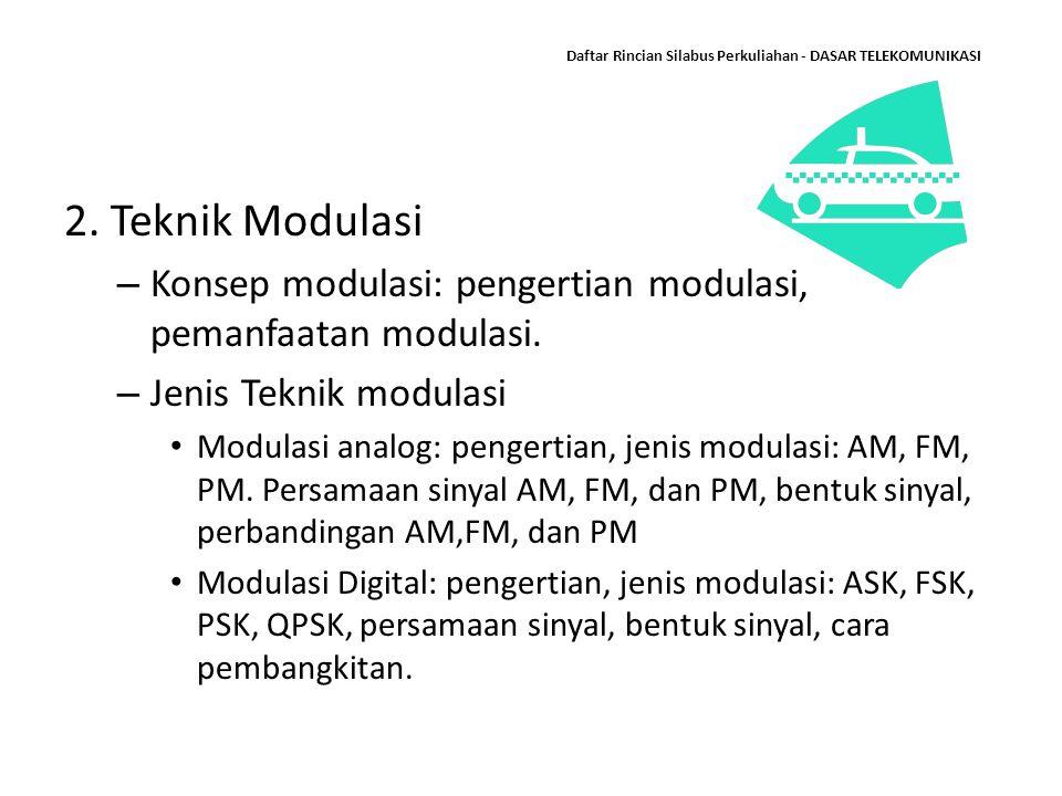 Daftar Rincian Silabus Perkuliahan - DASAR TELEKOMUNIKASI 2. Teknik Modulasi – Konsep modulasi: pengertian modulasi, pemanfaatan modulasi. – Jenis Tek
