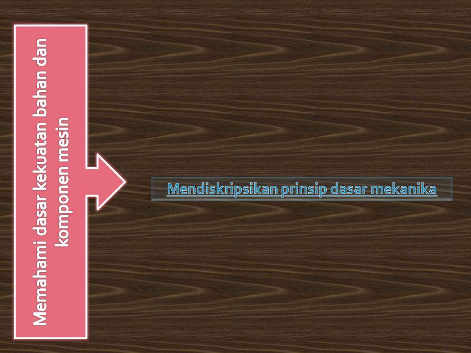 Mendiskripsikan prinsip dasar mekanika  Pengantar ilmu mekanikaPengantar ilmu mekanika  Fungsi dan prinsip kerja sabuk dan rantai  besaran skalar dan vektorbesaran skalar dan vektor  Jenis sabuk dan rantai  Sistem satuan  Kelebihan dan kekurangan penerus daya sabuk dan rantai  Hukum Newton  Fungsi dan prinsip kerja kopling gesek dan rem  Konsep Gaya  Jenis kopling gesek dan rem  Sistem gaya 2 dimensi