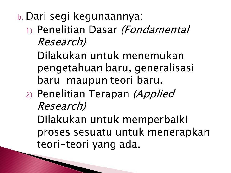 2) Jenis penelitian pengembangan, yaitu bertujuan untuk memperkembangkan pengetahuan atau teori pendidikan yang sudah ada. 3) Jenis penelitian verifik