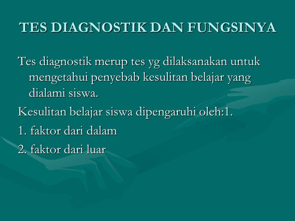 TES DIAGNOSTIK DAN FUNGSINYA Tes diagnostik merup tes yg dilaksanakan untuk mengetahui penyebab kesulitan belajar yang dialami siswa. Kesulitan belaja