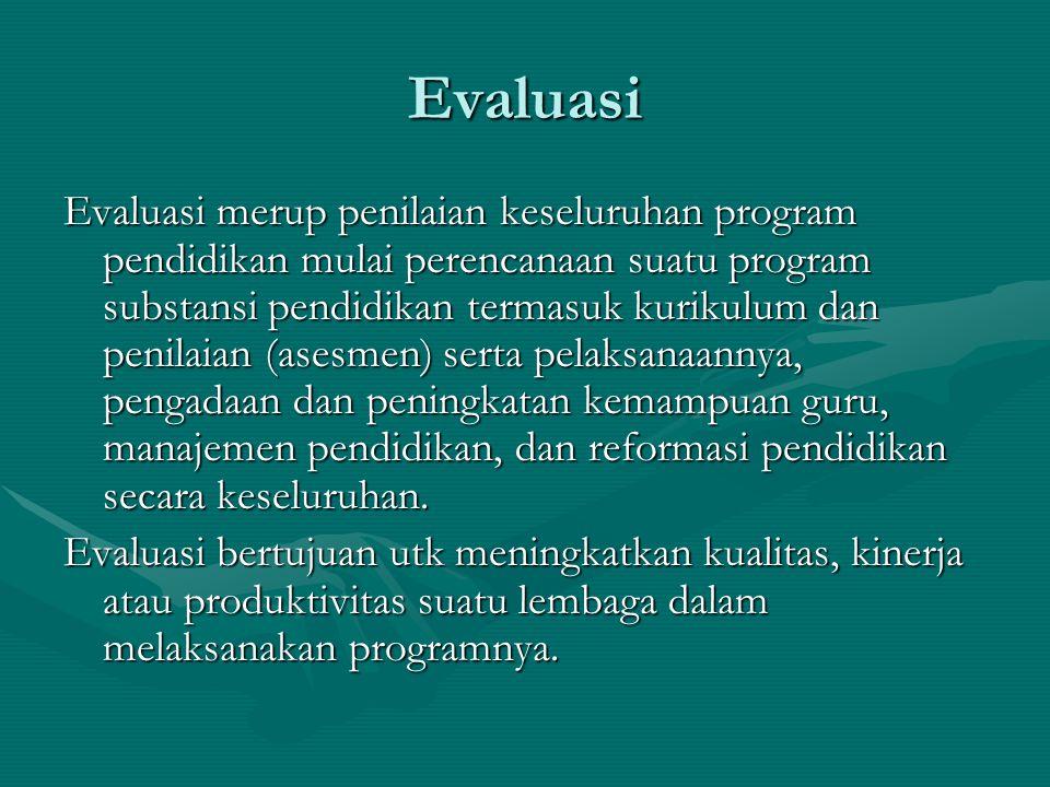Evaluasi Evaluasi merup penilaian keseluruhan program pendidikan mulai perencanaan suatu program substansi pendidikan termasuk kurikulum dan penilaian