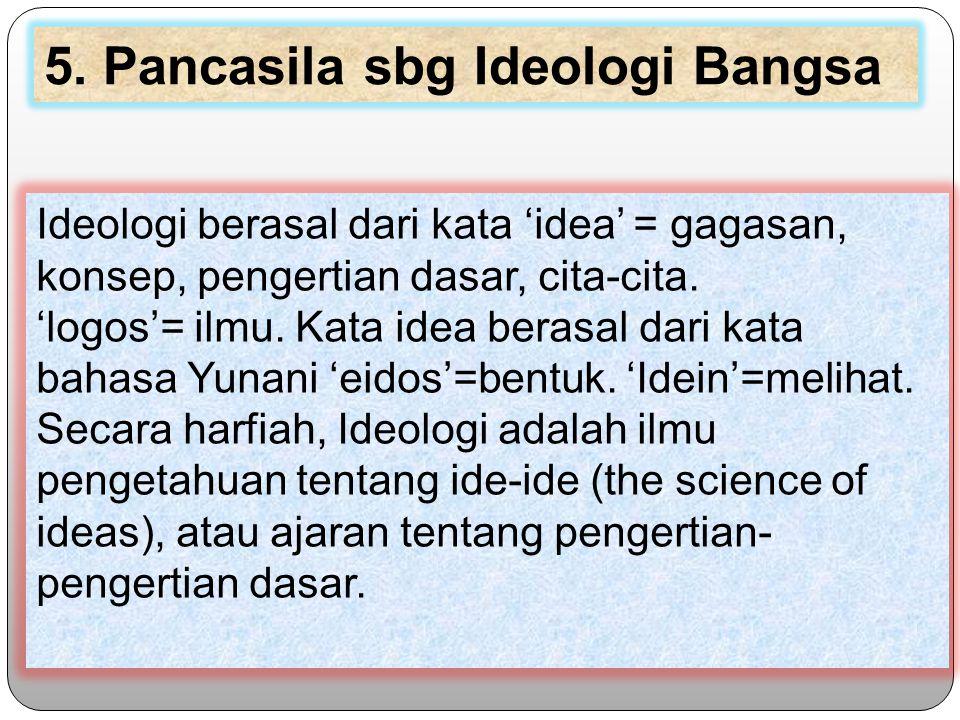 Ideologi berasal dari kata 'idea' = gagasan, konsep, pengertian dasar, cita-cita.