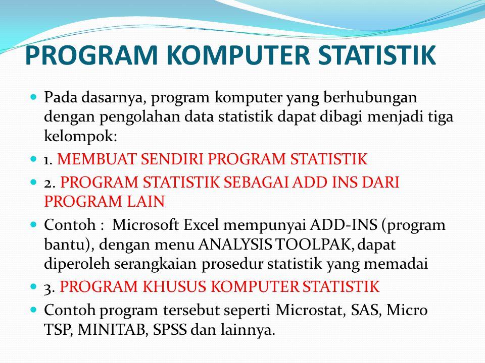 PROGRAM KOMPUTER STATISTIK Pada dasarnya, program komputer yang berhubungan dengan pengolahan data statistik dapat dibagi menjadi tiga kelompok: 1.