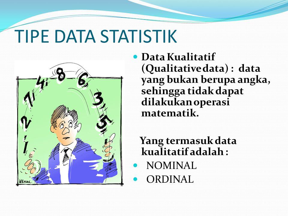 TIPE DATA STATISTIK Data Kualitatif (Qualitative data) : data yang bukan berupa angka, sehingga tidak dapat dilakukan operasi matematik.