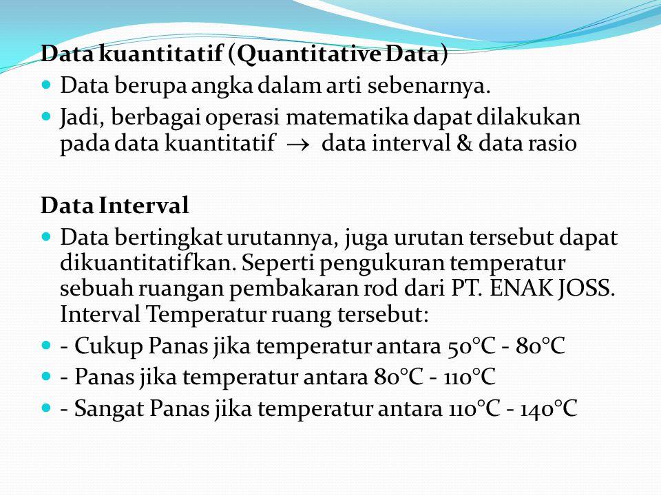 Data kuantitatif (Quantitative Data) Data berupa angka dalam arti sebenarnya.