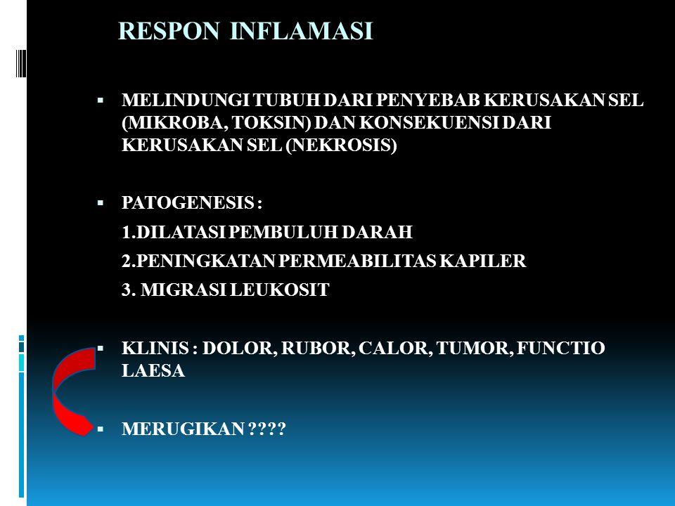 RESPON INFLAMASI  MELINDUNGI TUBUH DARI PENYEBAB KERUSAKAN SEL (MIKROBA, TOKSIN) DAN KONSEKUENSI DARI KERUSAKAN SEL (NEKROSIS)  PATOGENESIS : 1.DILA