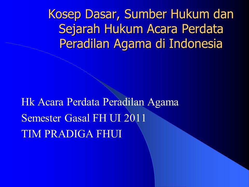 Kosep Dasar, Sumber Hukum dan Sejarah Hukum Acara Perdata Peradilan Agama di Indonesia Hk Acara Perdata Peradilan Agama Semester Gasal FH UI 2011 TIM