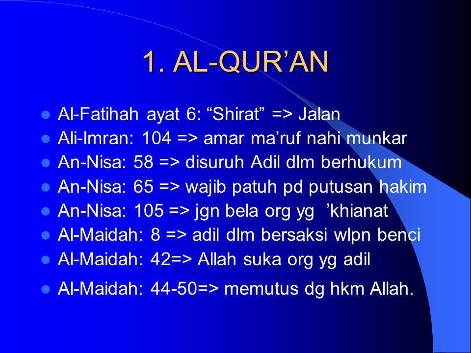 "1. AL-QUR'AN Al-Fatihah ayat 6: ""Shirat"" => Jalan Ali-Imran: 104 => amar ma'ruf nahi munkar An-Nisa: 58 => disuruh Adil dlm berhukum An-Nisa: 65 => wa"