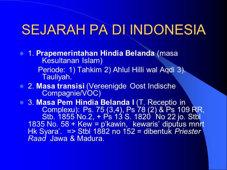 SEJARAH PA DI INDONESIA 1. Prapemerintahan Hindia Belanda (masa Kesultanan Islam) Periode: 1) Tahkim 2) Ahlul Hilli wal Aqdi 3). Tauliyah. 2. Masa tra