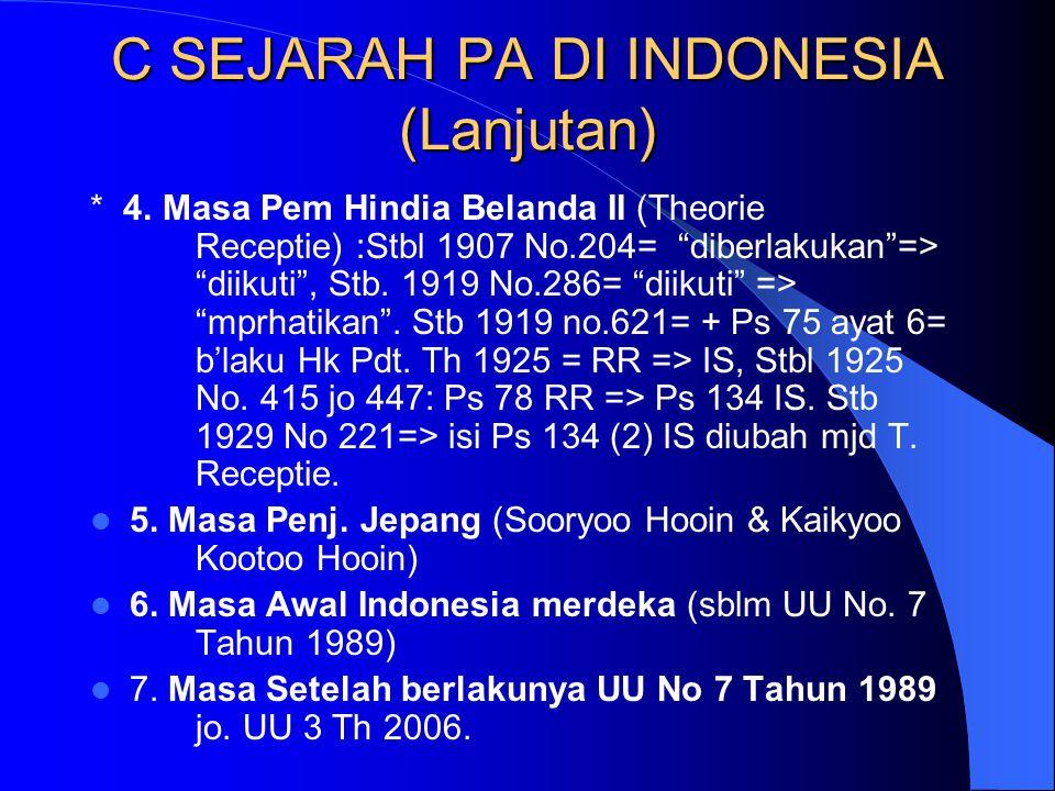 """C SEJARAH PA DI INDONESIA (Lanjutan) * 4. Masa Pem Hindia Belanda II (Theorie Receptie) :Stbl 1907 No.204= """"diberlakukan""""=> """"diikuti"""", Stb. 1919 No.28"""