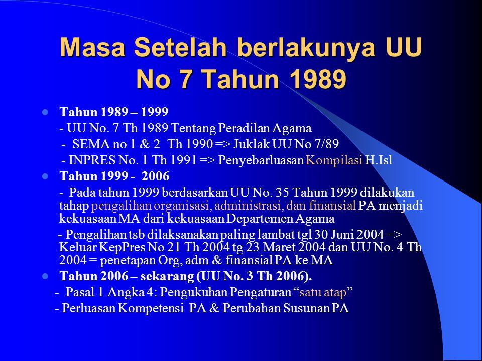 Masa Setelah berlakunya UU No 7 Tahun 1989 Tahun 1989 – 1999 - UU No. 7 Th 1989 Tentang Peradilan Agama - SEMA no 1 & 2 Th 1990 => Juklak UU No 7/89 -