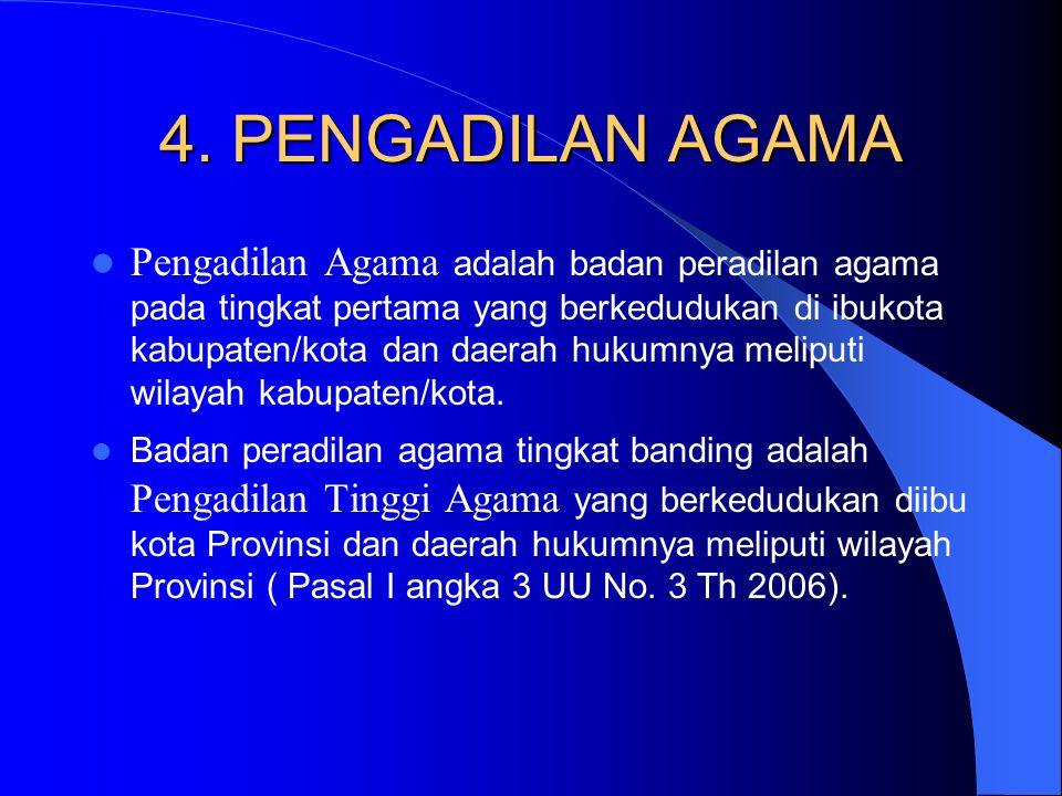 4. PENGADILAN AGAMA Pengadilan Agama adalah badan peradilan agama pada tingkat pertama yang berkedudukan di ibukota kabupaten/kota dan daerah hukumnya