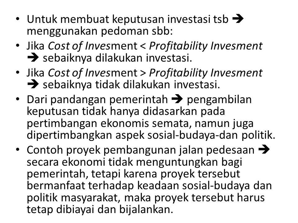 Untuk membuat keputusan investasi tsb  menggunakan pedoman sbb: Jika Cost of Invesment < Profitability Invesment  sebaiknya dilakukan investasi. Jik