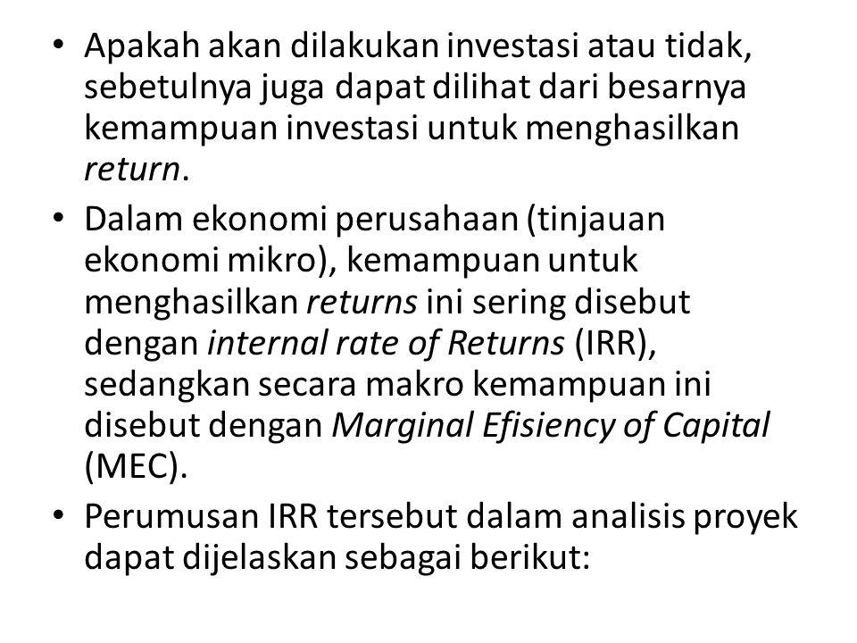Apakah akan dilakukan investasi atau tidak, sebetulnya juga dapat dilihat dari besarnya kemampuan investasi untuk menghasilkan return. Dalam ekonomi p