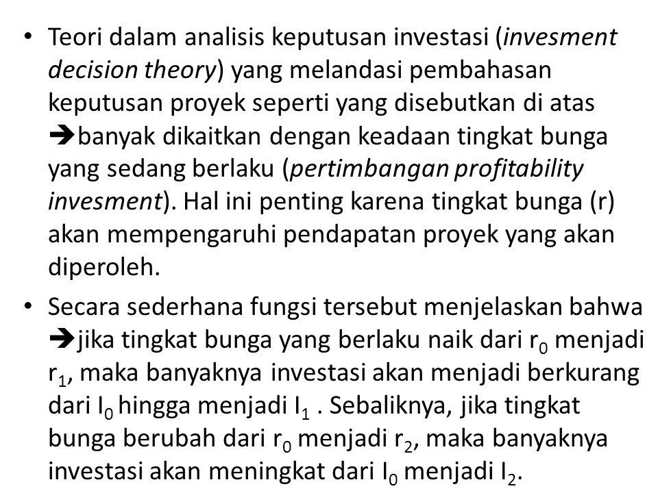 Teori dalam analisis keputusan investasi (invesment decision theory) yang melandasi pembahasan keputusan proyek seperti yang disebutkan di atas  bany