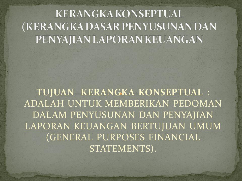 TUJUAN KERANGKA KONSEPTUAL : ADALAH UNTUK MEMBERIKAN PEDOMAN DALAM PENYUSUNAN DAN PENYAJIAN LAPORAN KEUANGAN BERTUJUAN UMUM (GENERAL PURPOSES FINANCIAL STATEMENTS).