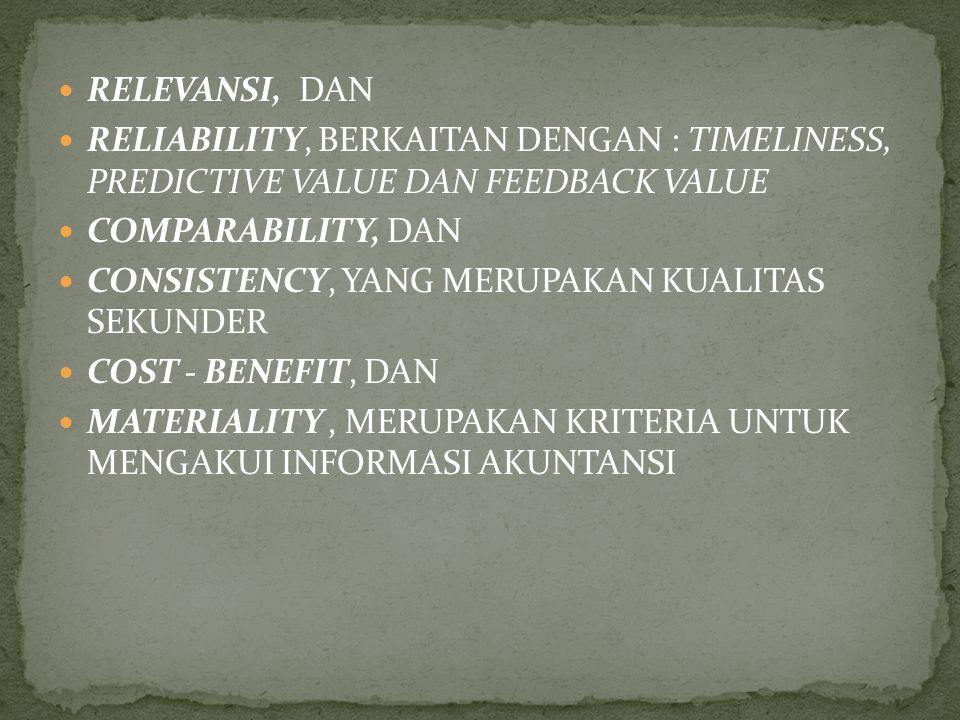 1. KARAKTERISTIK KUALITATIF DARI INFORMASI. FASB DALAM SFAC NO. 2, KARAKTERISTIK KUALITATIF DIMAKSUDKAN : UNTUK MEMBERIKAN KRITERIA DASAR DALAM MEMILI