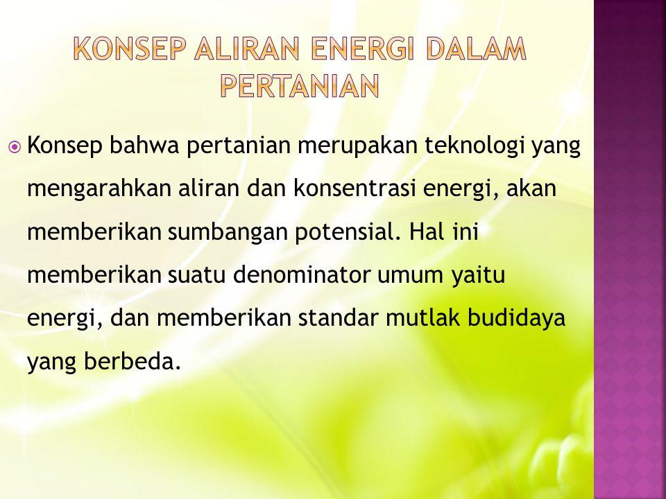 Konsep bahwa pertanian merupakan teknologi yang mengarahkan aliran dan konsentrasi energi, akan memberikan sumbangan potensial.