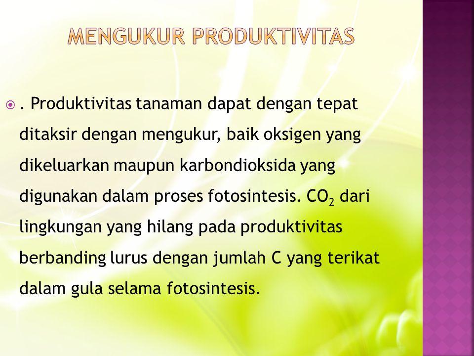 . Produktivitas tanaman dapat dengan tepat ditaksir dengan mengukur, baik oksigen yang dikeluarkan maupun karbondioksida yang digunakan dalam proses