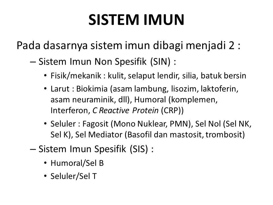 SISTEM IMUN Pada dasarnya sistem imun dibagi menjadi 2 : – Sistem Imun Non Spesifik (SIN) : Fisik/mekanik : kulit, selaput lendir, silia, batuk bersin Larut : Biokimia (asam lambung, lisozim, laktoferin, asam neuraminik, dll), Humoral (komplemen, Interferon, C Reactive Protein (CRP)) Seluler : Fagosit (Mono Nuklear, PMN), Sel Nol (Sel NK, Sel K), Sel Mediator (Basofil dan mastosit, trombosit) – Sistem Imun Spesifik (SIS) : Humoral/Sel B Seluler/Sel T