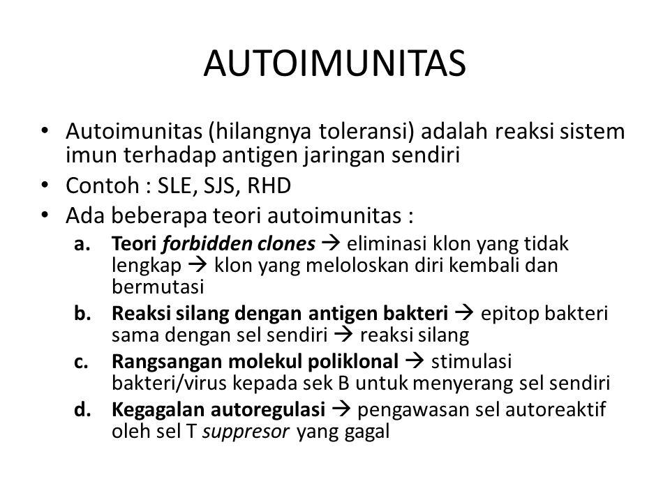 AUTOIMUNITAS Autoimunitas (hilangnya toleransi) adalah reaksi sistem imun terhadap antigen jaringan sendiri Contoh : SLE, SJS, RHD Ada beberapa teori