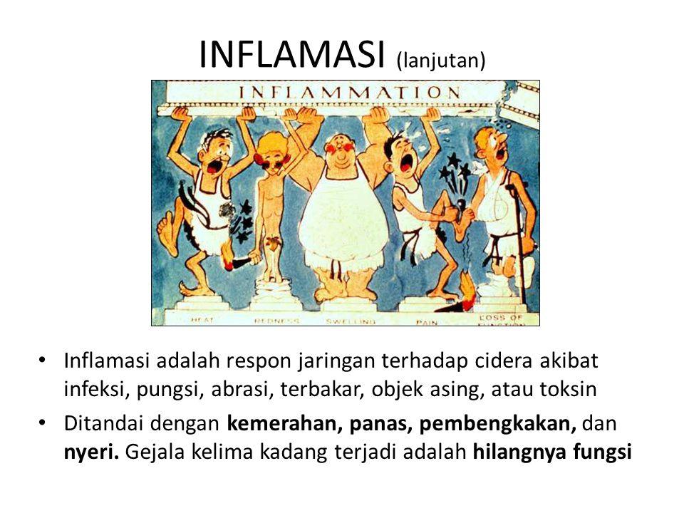 INFLAMASI (lanjutan) Inflamasi adalah respon jaringan terhadap cidera akibat infeksi, pungsi, abrasi, terbakar, objek asing, atau toksin Ditandai dengan kemerahan, panas, pembengkakan, dan nyeri.