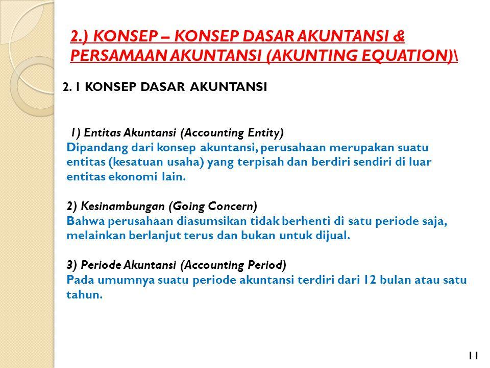 2.) KONSEP – KONSEP DASAR AKUNTANSI & PERSAMAAN AKUNTANSI (AKUNTING EQUATION)\ 2. 1 KONSEP DASAR AKUNTANSI 1) Entitas Akuntansi (Accounting Entity) Di