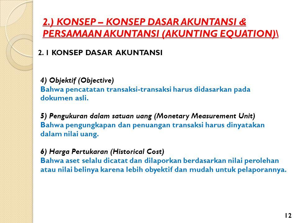 2.) KONSEP – KONSEP DASAR AKUNTANSI & PERSAMAAN AKUNTANSI (AKUNTING EQUATION)\ 2. 1 KONSEP DASAR AKUNTANSI 4) Objektif (Objective) Bahwa pencatatan tr